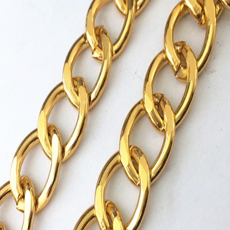 Большая алюминиевая цепочка для ожерелья 25 мм x 31 мм золотого цвета, DIY мини-аксессуары, подвесные сумки, цепочка для браслета 3.2 фута/лот
