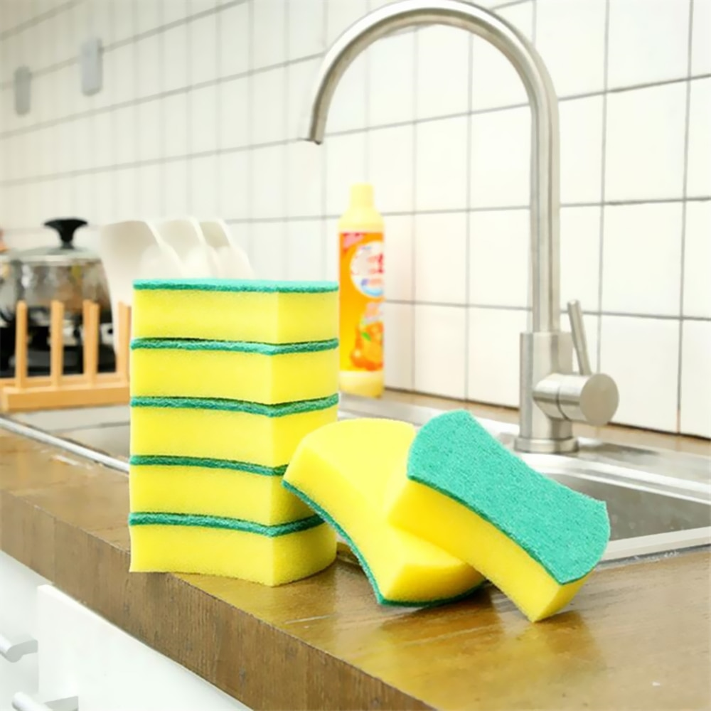 5PCS High Density Sponge Kitchen Cleaning Tools Washing Towels Wiping Rags Sponge Scouring Pad Microfiber Dish Cleanin недорого