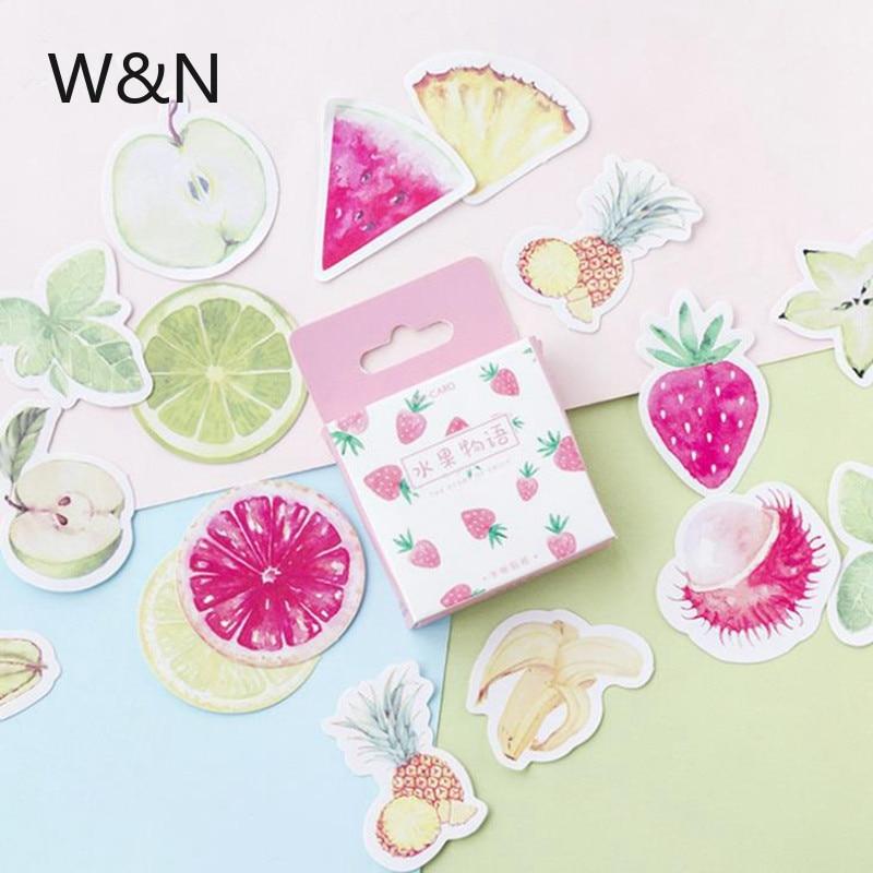45 unids/set de Mini pegatinas de papel con hojas bonitas, fruta, fresa, pegatina, decoración Diy, Ablum, álbum de recortes diario, etiqueta adhesiva Kawaii