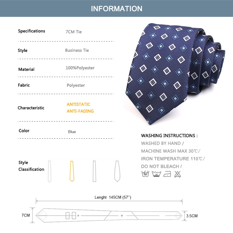 Men's Classic 7CM Navy Blue Tie High Quality Fashion Formal Neck Tie For Men Business Suit Work Necktie With Gift Box