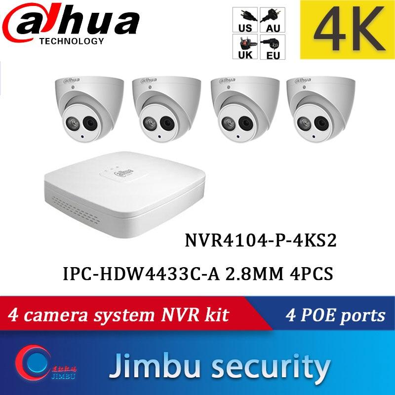 Dahua 4 sistema de cámara NVR kits 4CH 4K grabadora de vídeo DHI-NVR4104-P-4KS2 y cámara IP 4MP 4 Uds DH-IPC-HDW4433C-A de cámara de seguridad