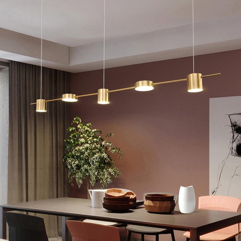 Nordic pendant lights restaurant post-modern table dining room long hanging light luxury LED Geometric line pendant lamps