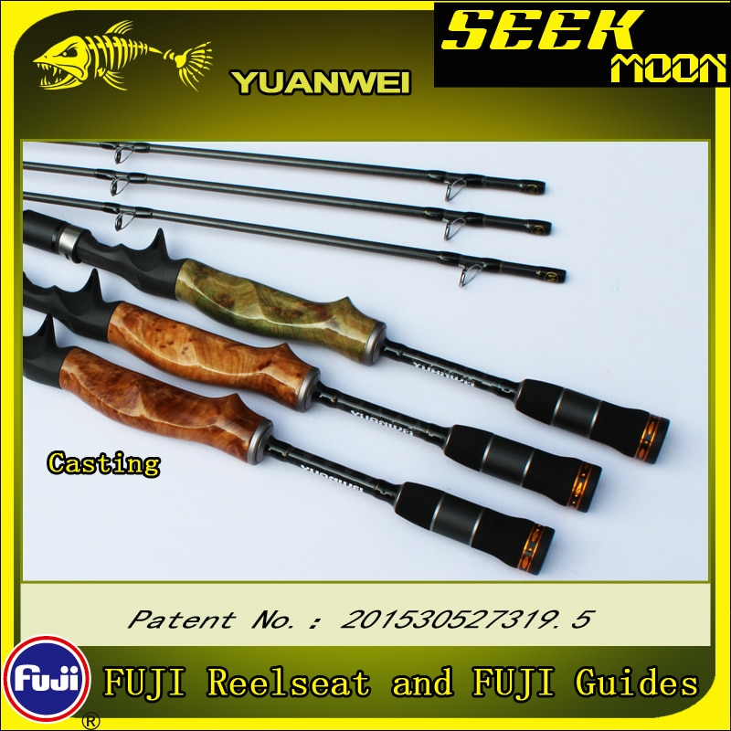 YUANWEI Seek Moon Spinning Fishing Rod 1.98m 2.1m ML/M/MH Carbon Lure Rods Wood Handle Casting Rod Vara De Pesca Peche Olta B183 enlarge