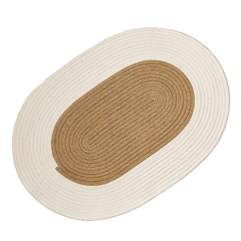 سجادة أرضية دائرية منسوجة من القش سجادة بسيطة من الجوت لغرفة المعيشة وغرفة النوم والسرير
