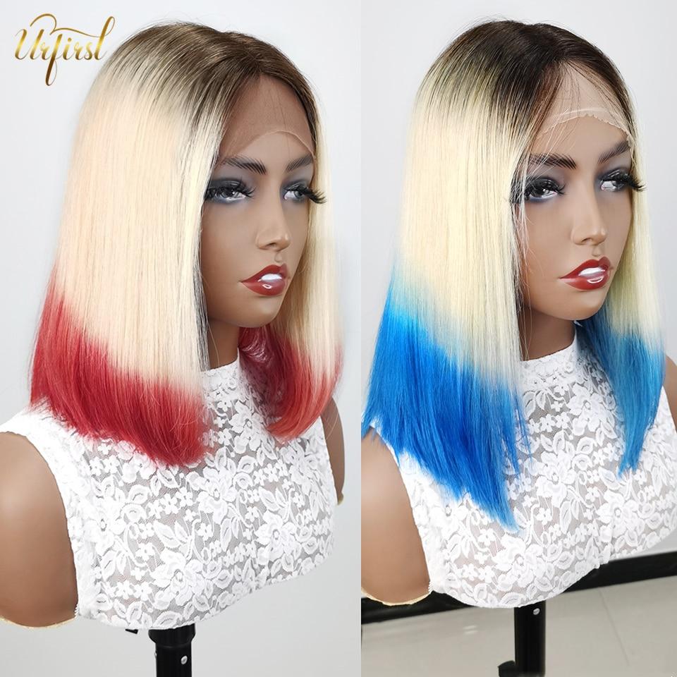 Ombre Bob Wig T1B/613/ Blue Red Purple Short Bob Wig Brazilian Lace Front Human Hair Wigs For Black Women Remy Blunt Cut Bob Wig