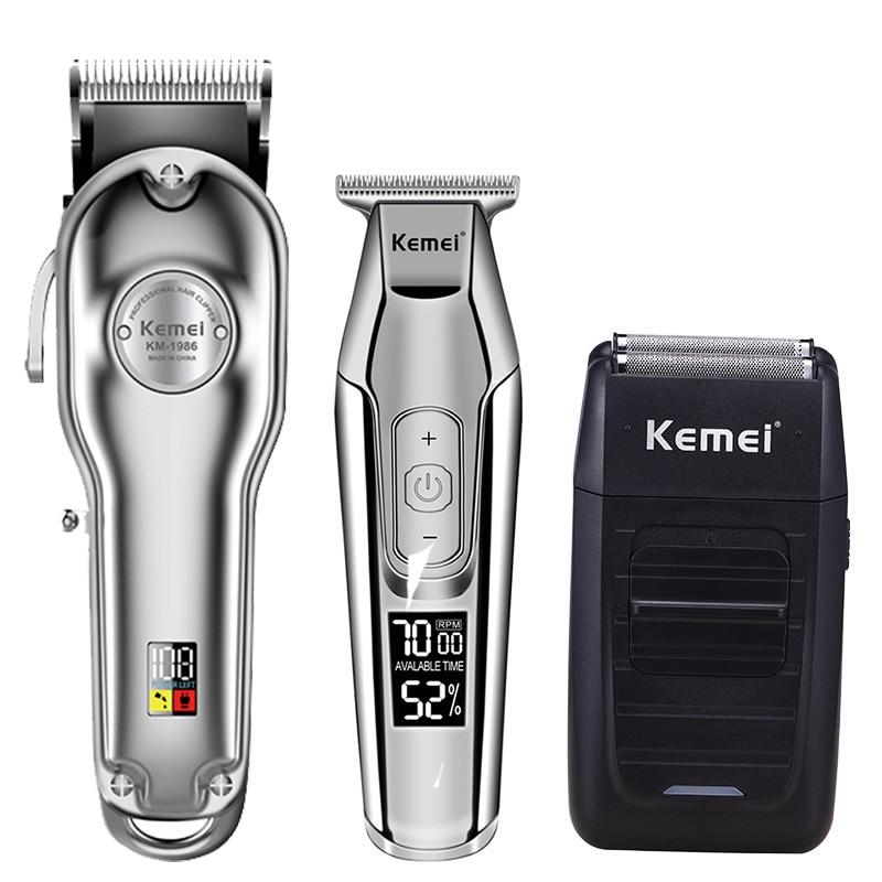 Kemei hair clipper electric hair trimmer barber hair cutter mower hair cutting machine kit combo KM-1987 KM-1986 KM-5027 KM-1102 enlarge