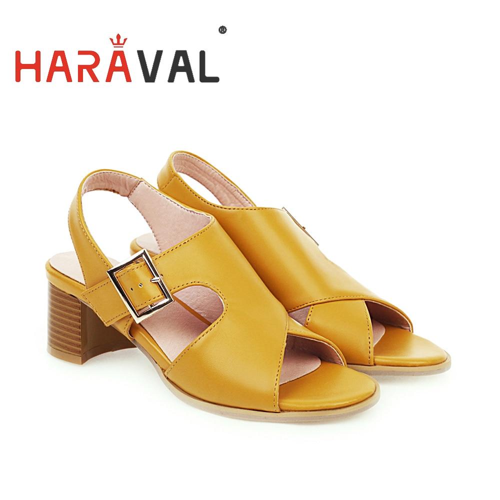 HARAVAL, sandalias para mujer, zapatos de tacón grueso, moda básica de PU, zapatos informales para mujer, negro amarillo, primavera, verano, otoño, heelB17