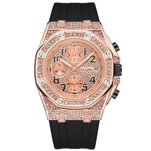 Rose Gold Diamond Watch Iced Out Watches All Dial Work Chronograph Quartz Movement Stainless Steel
