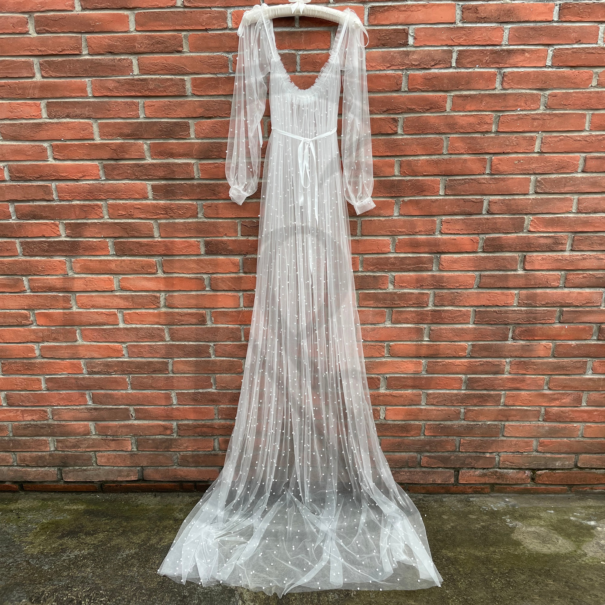 Photo Shoot Prop Maxi Sexy Maternity Photography Dress with Pearl Long Sleeves Tulle Party Gown Baby Shower Robe for Fotografia enlarge
