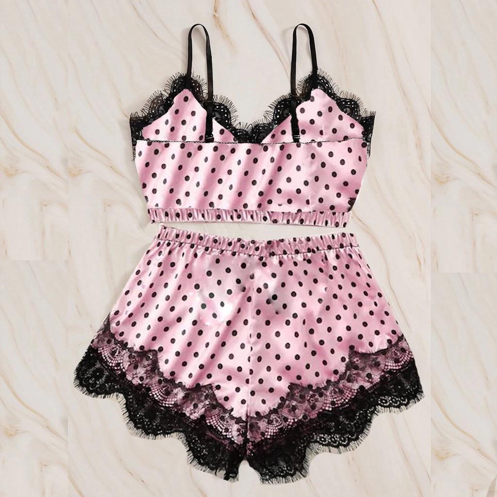 2020 Pyjamas chauds femmes vêtements de nuit Pijama femmes col en v point imprimé dentelle Satin Camisole Pyjamas nœud papillon Shorts ensemble de Lingerie