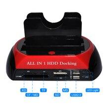 DeepFox Disco Duro estación de acoplamiento USB 2,0 a 2,5 3,5 pulgadas SATA IDE Dual Slots HDD externo SSD recinto con lector de tarjetas