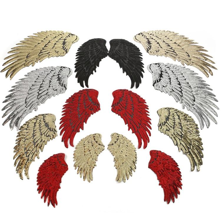 Parche de alas de lentejuelas doradas y plateadas para coser, parches para...