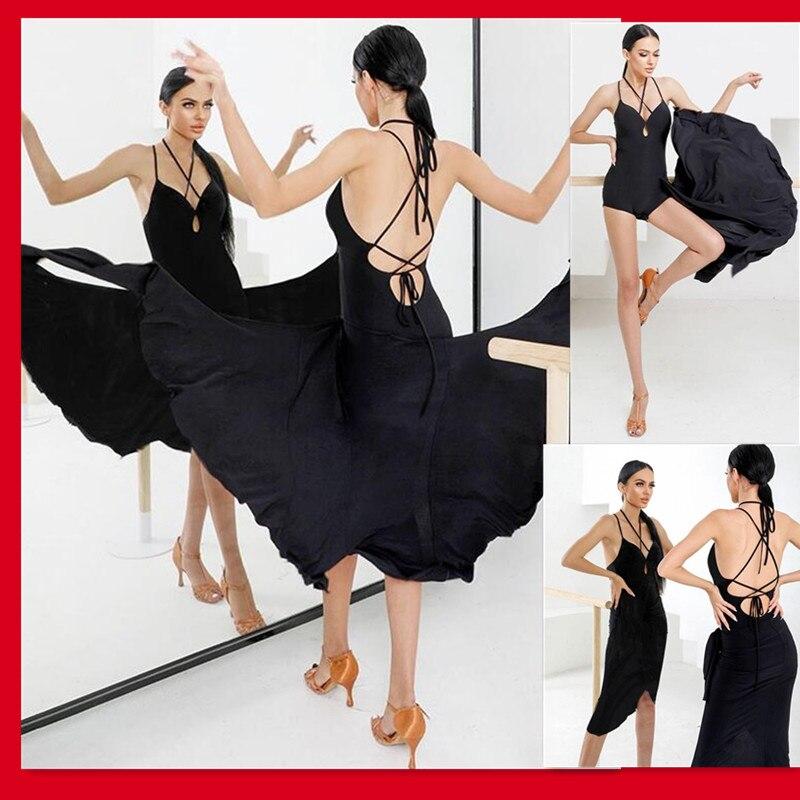 فستان أسود ليوبارد لاتيني مثير لاتيني مسابقة pasodoble dressTango السالسا تشا سامبا رومبا فستان 2109
