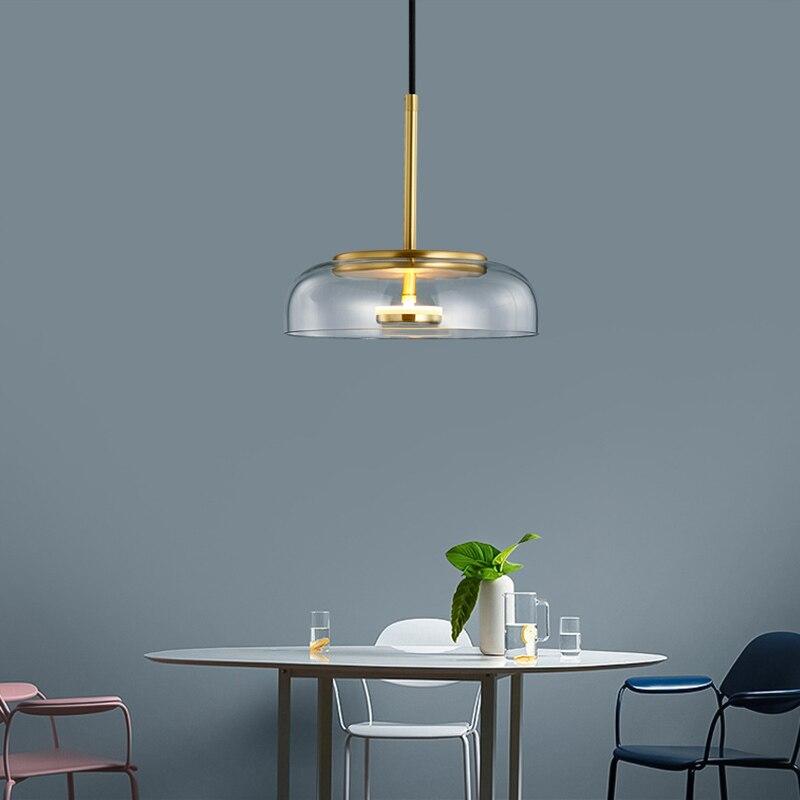 مصباح زجاجي معلق LED بتصميم إسكندنافي حديث ، إضاءة داخلية ، مثالي لغرفة الطعام أو المطبخ.