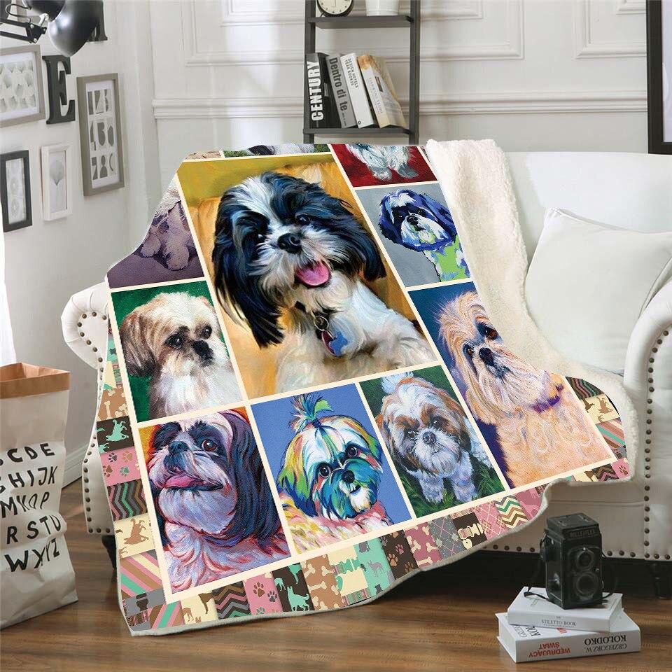 Shih Tzu-غطاء سرير من الصوف بطباعة ثلاثية الأبعاد ، سميك ، عصري ، للسرير والمشي لمسافات طويلة والنزهات