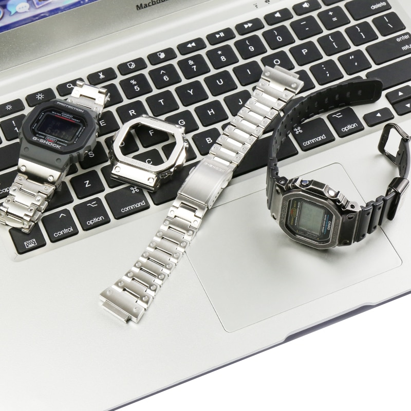 316L الفولاذ المقاوم للصدأ ساعة يد صلب السيدات DW5600 GW-M5610 GW-B5600 ساعة اكسسوارات ل كاسيو G-SHOCK حزام معدني الرجال الفرقة