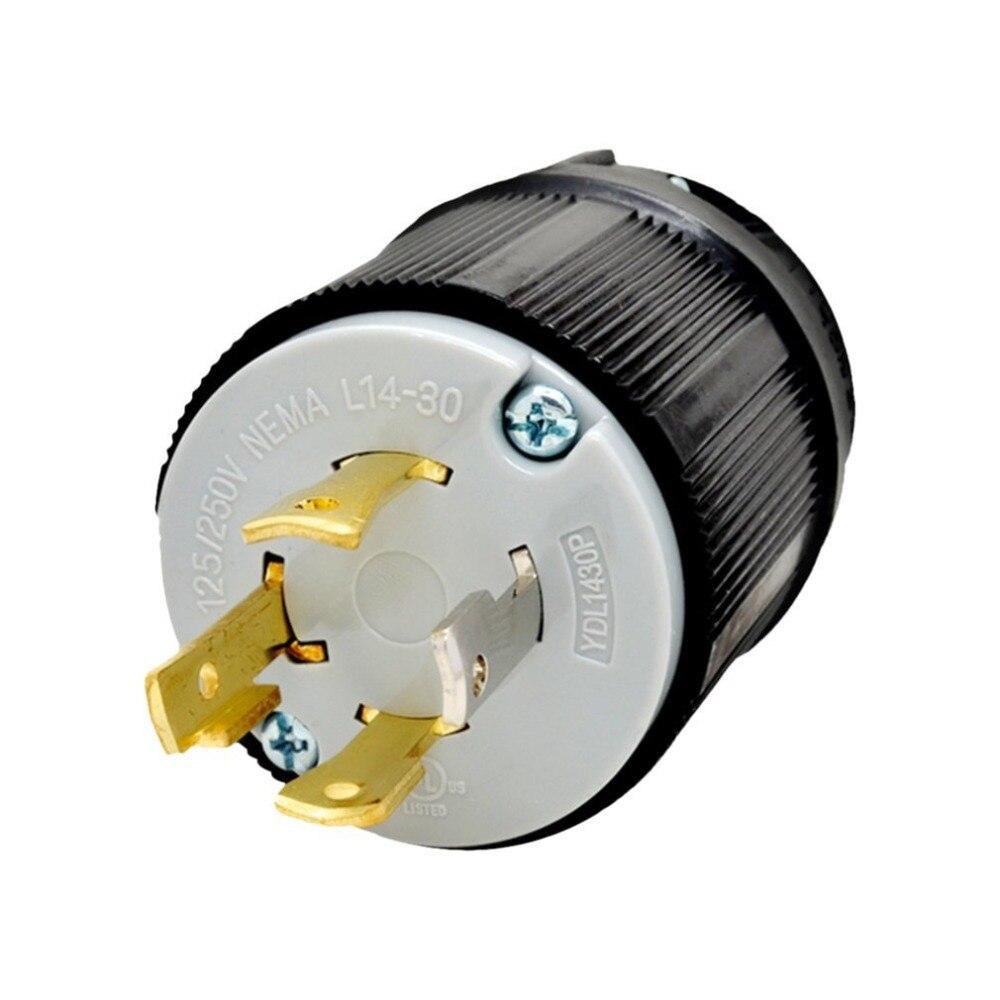 Nema L14-30P resistente 4-pino gerador torção bloqueio durável travamento plug dispositivo auto-lock adaptador de energia 125v/250v