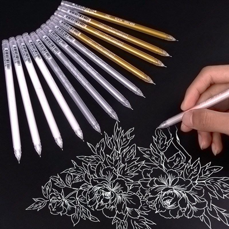 3pcs Large Capacity 0.6mm Waterproof White Gel Pen Highlighter Marker Sketch Drawing Art Markers Comic Design Fine Liner