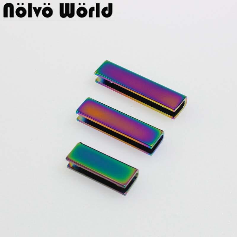 10-50 Uds. De arcoíris 4 tamaño 25mm 34mm 35mm 38mm perfil de borde metálico con tornillos para bolsos, carteras, bolsos, manualidades de costura