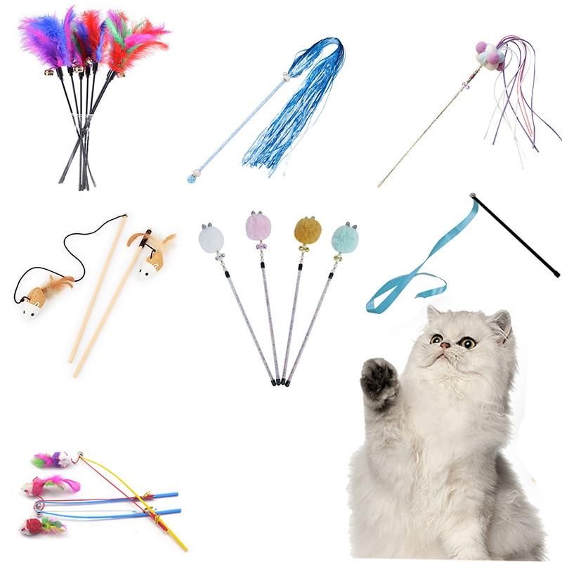 10 стилей, игрушки для кошек, пластиковый котенок, Интерактивная палочка, забавная кошка, удочка, игровой палочка, перо, палочка, игрушка, товары для домашних животных, аксессуар для котов
