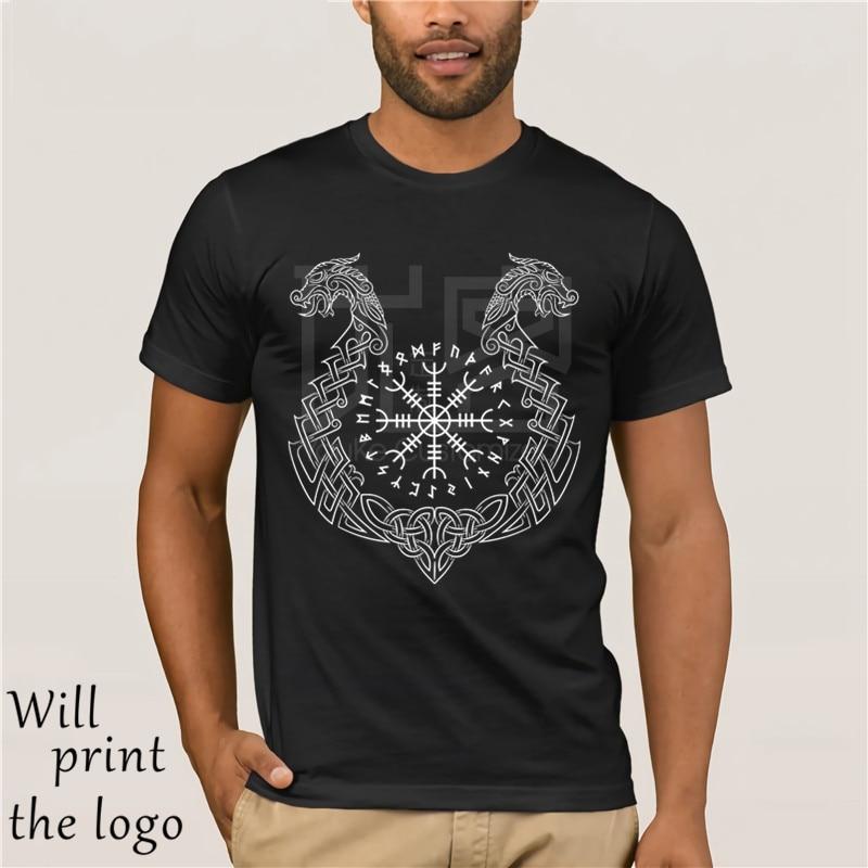 Camiseta Viking Helm of Awe Camiseta 100% algodón Humor hombres camisetas con cuello redondo verano nueva Camiseta de algodón para hombres 2017 moda corta