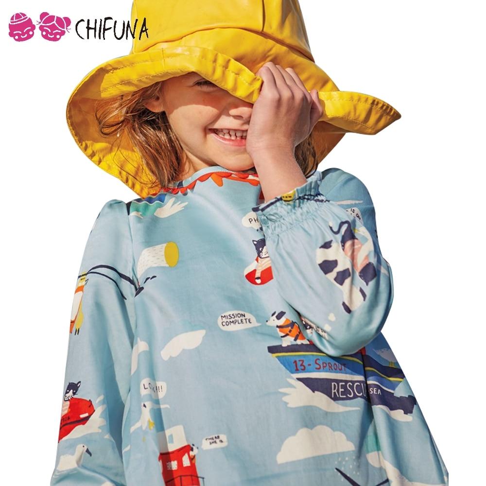 Chifuna 2019 niñas vestidos para primavera y otoño ropa de los niños de alta calidad barco aeronave imprimir niños vestido niñas Vestido de manga larga