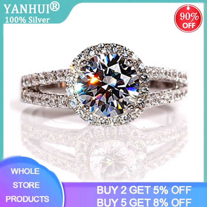 95% OFF! Luxury Female 2ct Zirconia Diamond Solitaire Ring With S925 Logo Original Silver Wedding Ring Promise Engagement Rings 95% off with certificate luxury solitaire 2 0ct zirconia diamond ring 925 solid silver 18k white gold wedding rings for women
