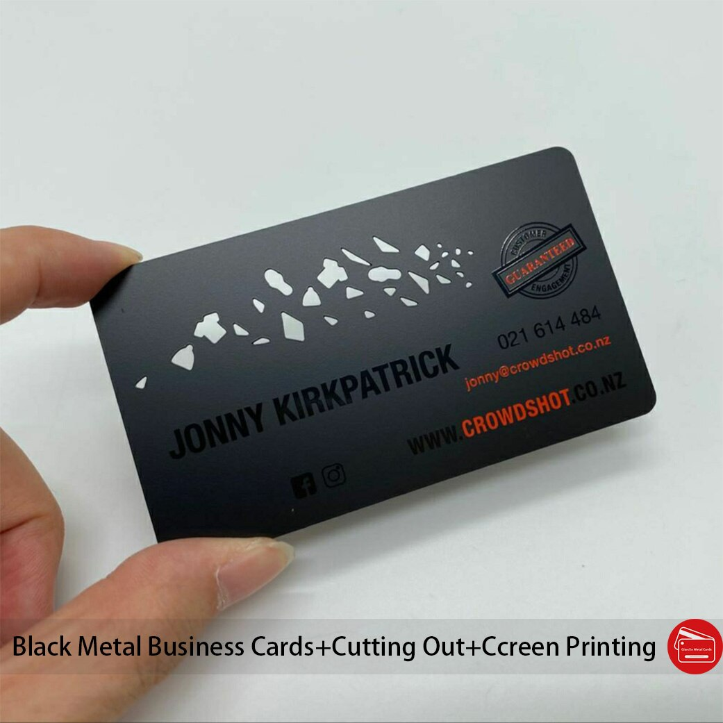 Wholesale customized logo black etched metal business card with spot UV