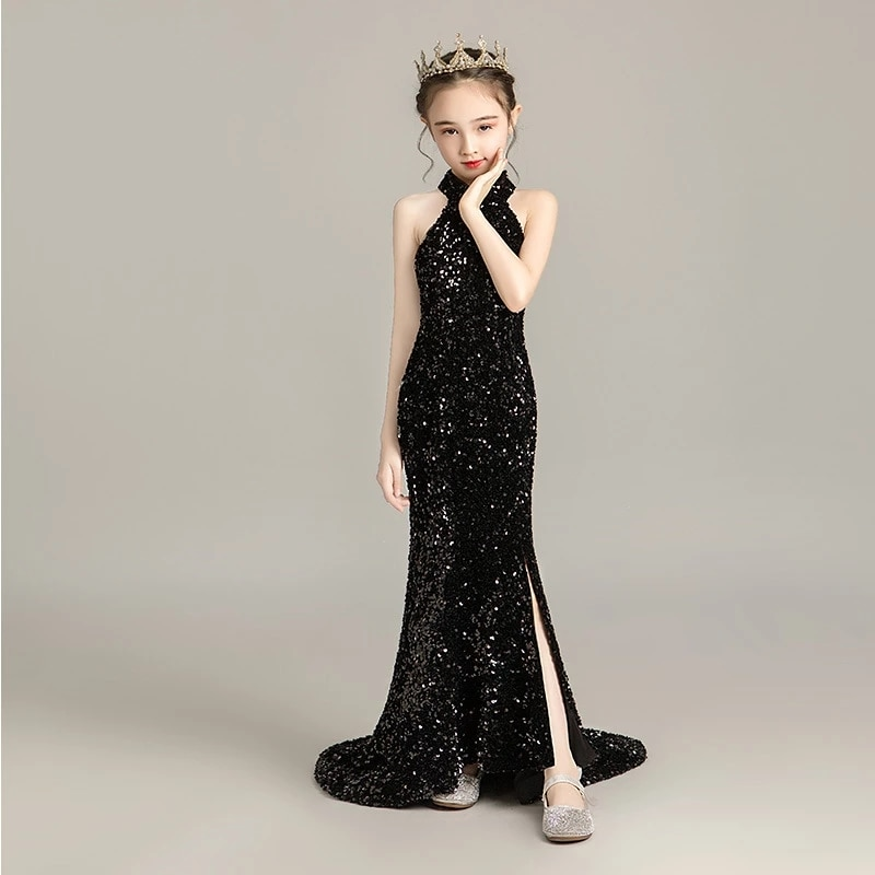 Evening Dress for Girls Kids Elegant Gowns Teen Birthday Party Dresses Sexy Multicolor Sequins Graduation Performance Tail Dress