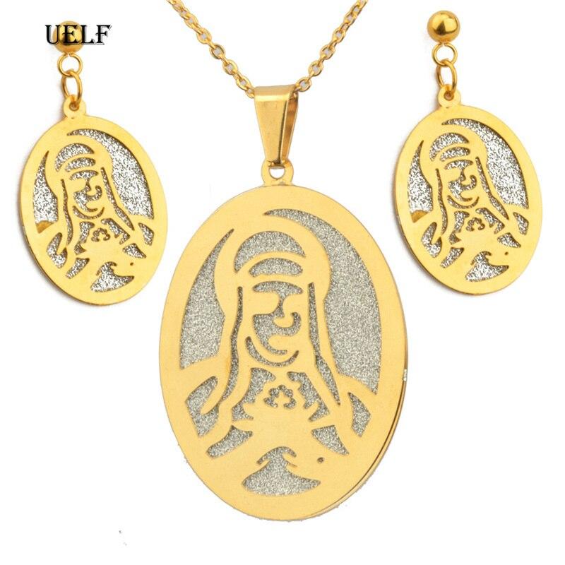 UELF Jesús juego de joyas Jesús colgante collares pendientes mujeres niñas Color oro Guam Micronesia Chuuk Pohnpei