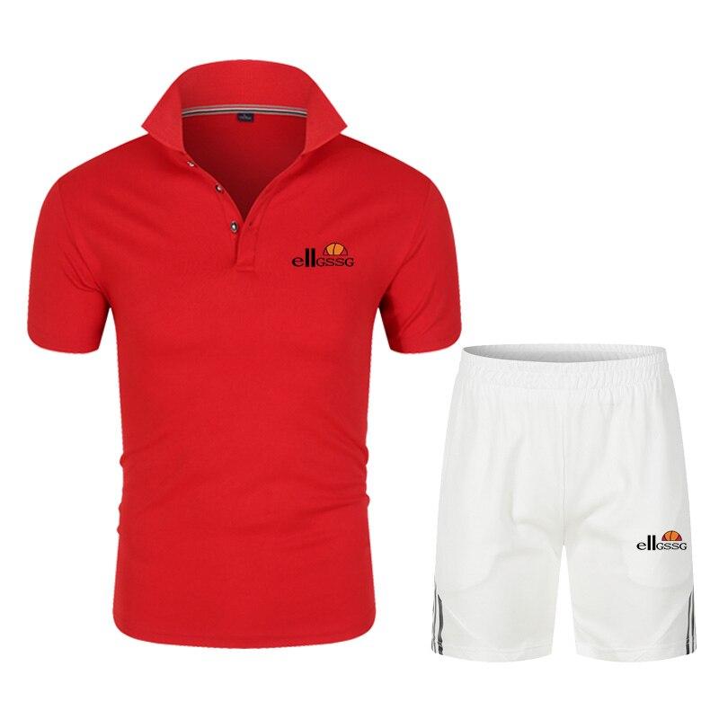 Men's polo shirt suit casual breathable short sleeve/shirt mens polo shirt fashion business men summer thin + casual shorts 2021