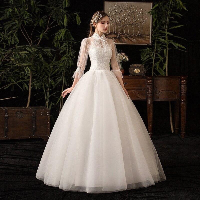 فساتين الزفاف الوهم عالية ثلاثة أرباع تول التطريز عارية الذراعين الطابق طول فاخر الأبيض خمر المرأة العروس ثوب GB122