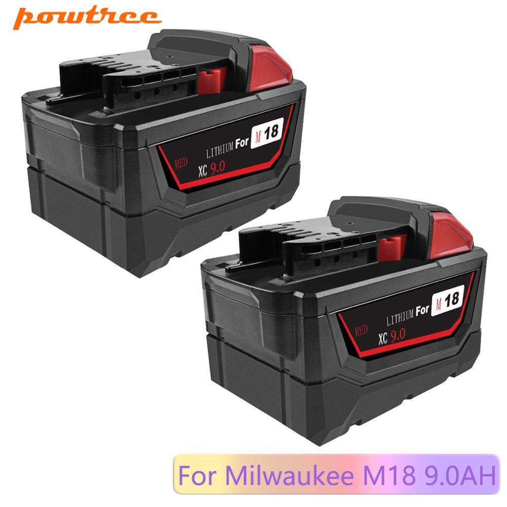 Powtree para Milwaukee Ferramentas Elétricas Recarregável Li-ion Bateria Substituição 48-11-1815 48-11-1850 48-11-1840 48-11- M18 9000 Mah 18 v