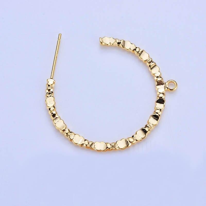 50pcs Stud Earring Post Twisted Circle Hooks Hanging on Dangle Earrings 24K Gold Color Brass Metal Women Earring Findings DIY