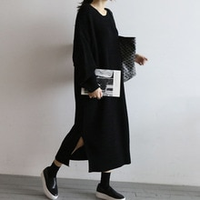 Long Womens Knitting Dress 2021 Autumn Winter Solid Color Split Fork Loose Casual Round Neck Fashion