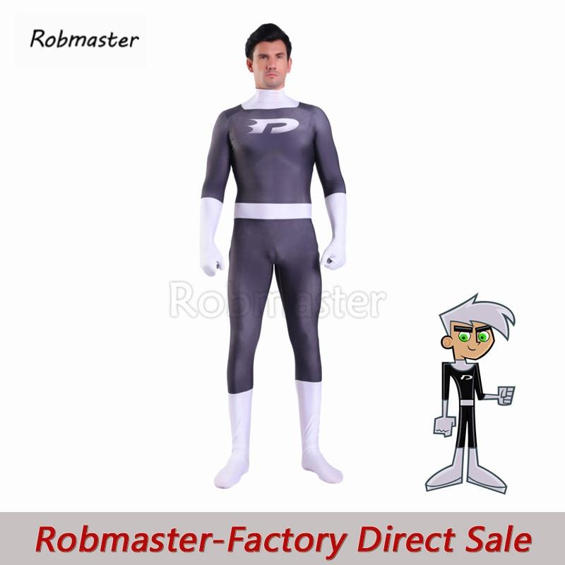 Adults Kids Boys Danny Phantom Cosplay Costume 3D Print Spandex One Piece Zentai Suit Bodysuit Superhero Halloween Party Costume
