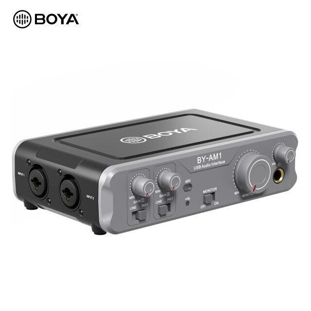 BOYA BY-AM1 ثنائي القناة جهاز مزج الصوت USB الصوت 6.35 مللي متر/XLR كومبو المدخلات 6.35 مللي متر سماعة 48 فولت قوة فانتوم لتسجيل الصوت