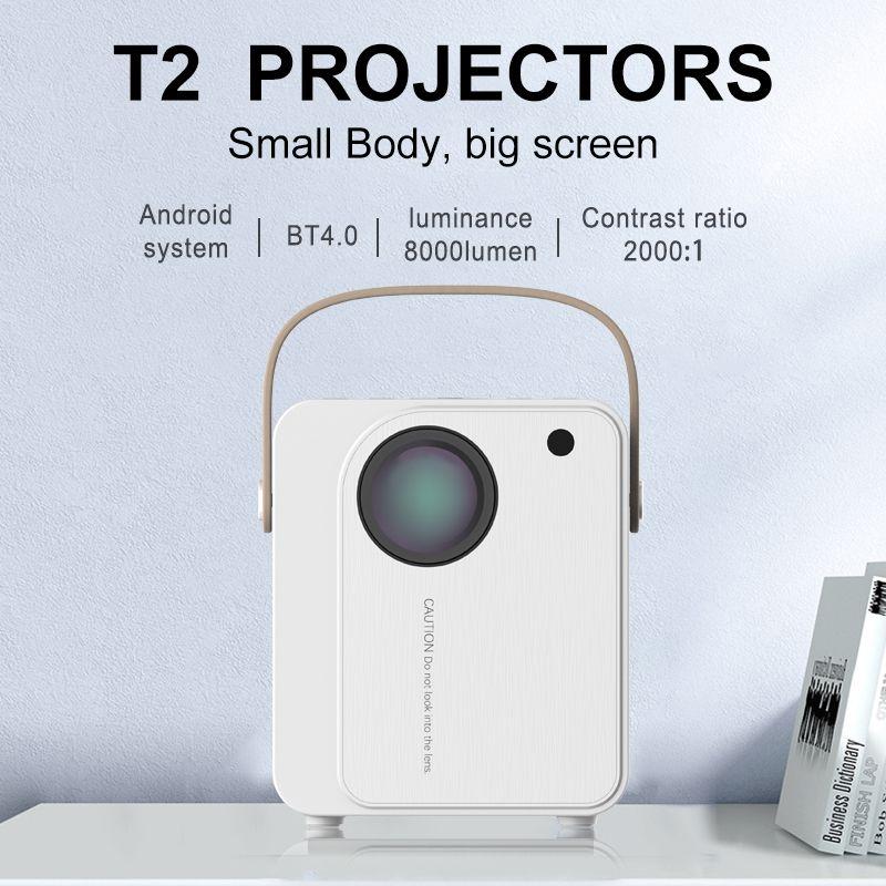 جهاز عرض سينما منزلي بشاشة ليد 1080P, دقة عالية 8000 لومن ، جهاز عرض أفلام لاسلكي محمول 4K للمنزل
