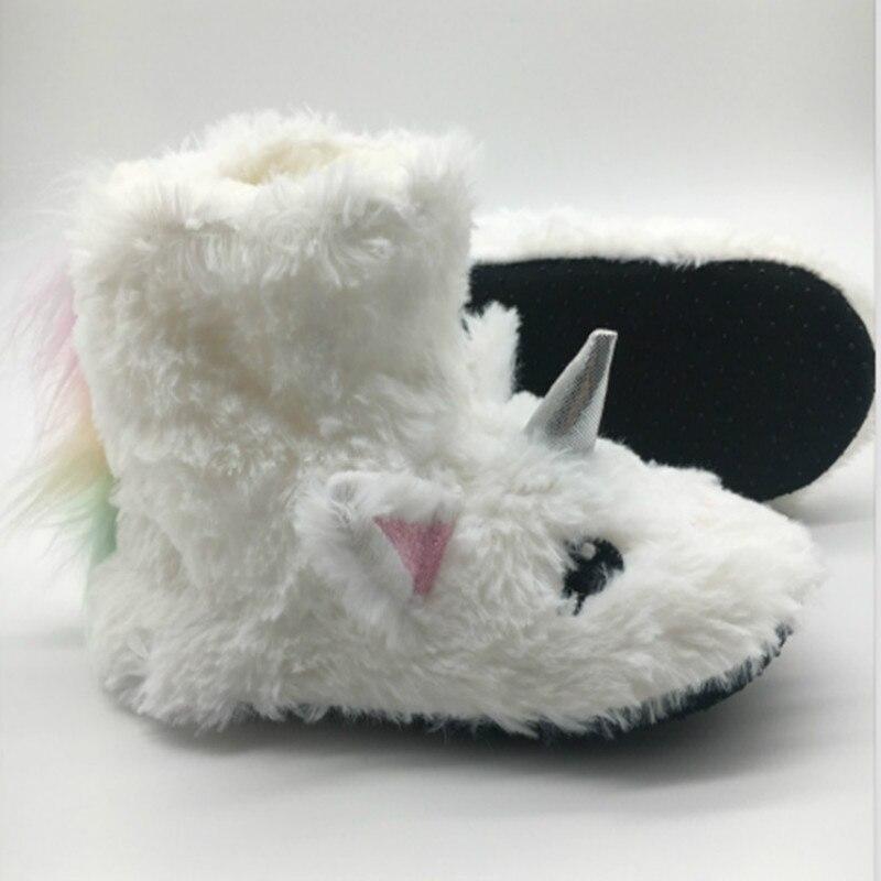 Zapatillas con dibujos de unicornios para el hogar, botas para niños, zapatillas de invierno suaves para niñas, zapatillas para niños, botas bordadas, zapatos para niños