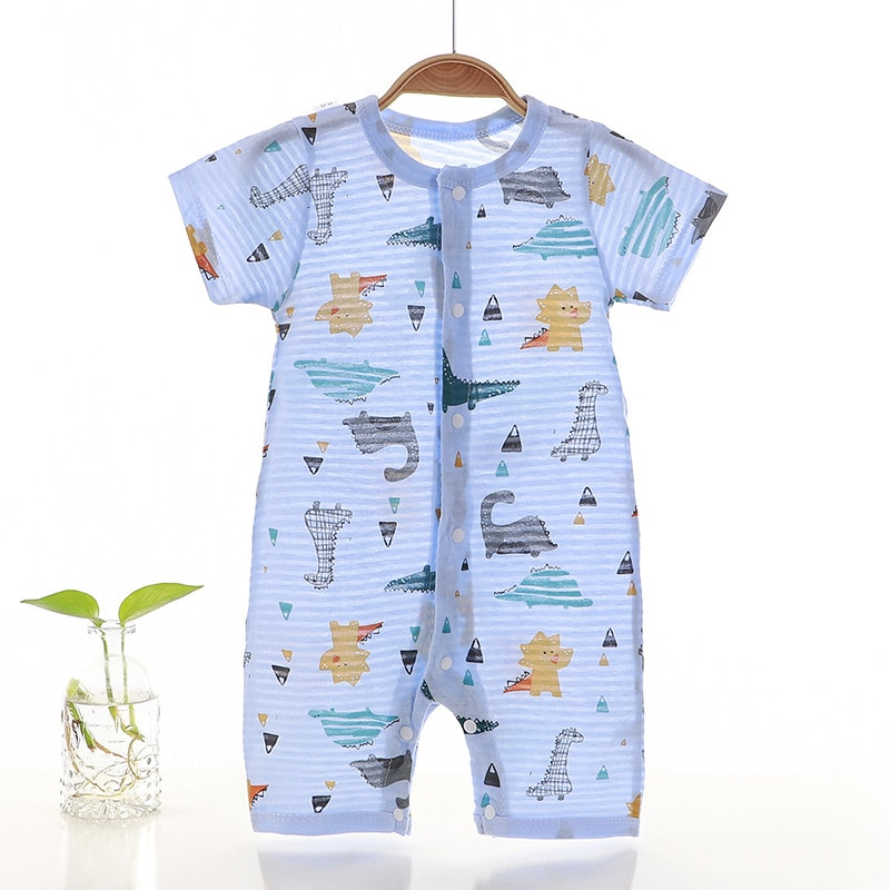2020 new baby girls cotton romper sling robe and boys print jumpsuit for newborn children kids summer clothes New Summer Cotton Baby Romper Short Sleeve Infant Rompers Baby Boys Girls Jumpsuit Newborn Clothes Kids Clothing Toddler Outfits