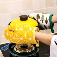 1Pc Cotton Oven Gloves Heatproof Mitten Kitchen Cooking Microwave Oven Mitt Insulated Non-slip Glove