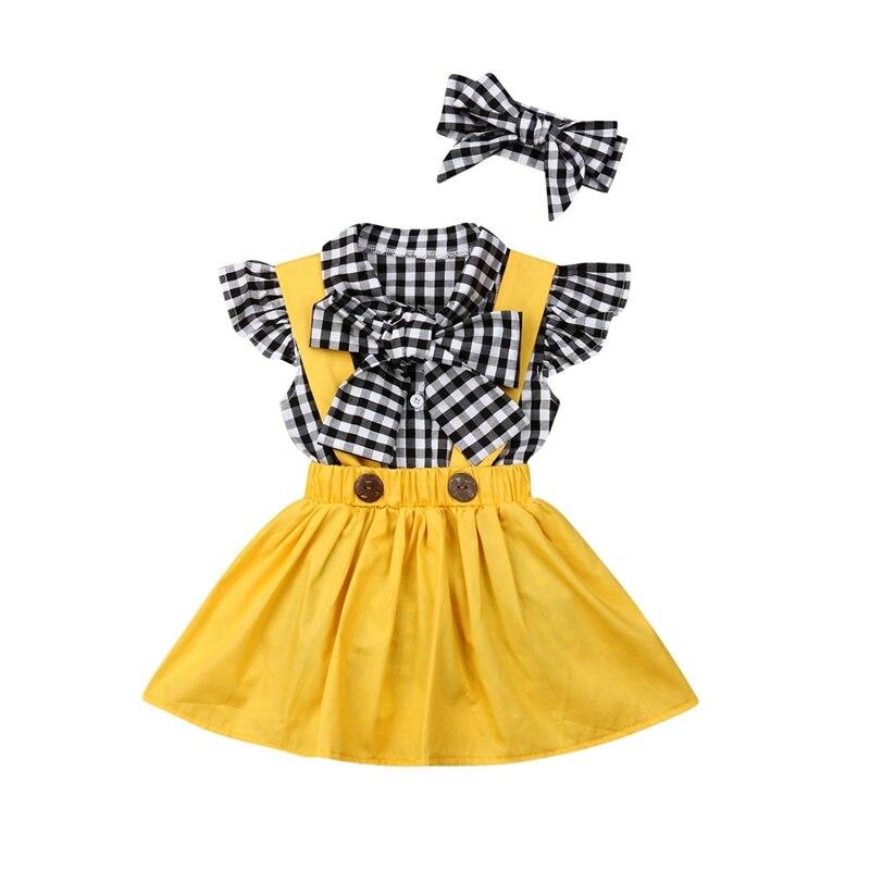 Conjunto de ropa de verano y primavera para niñas. Falda adorable a la moda + Tops + diadema 3 uds. Ropa para niñas. Ropa para fiestas de cumpleaños y princesas.