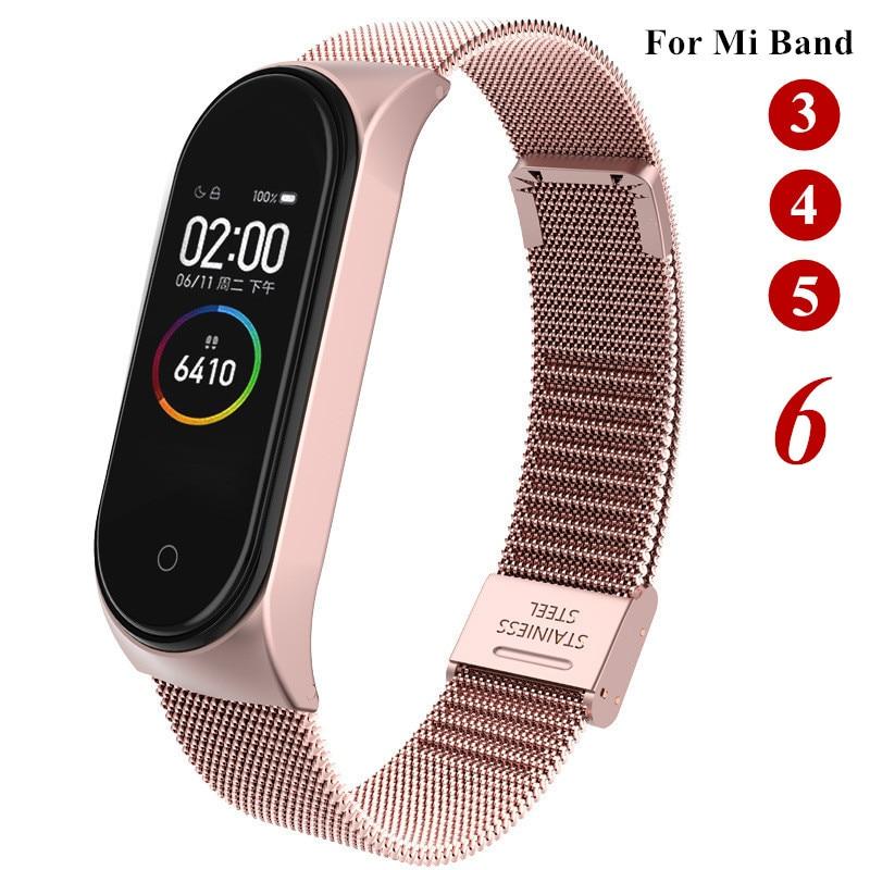 Strap For Xiaomi Mi Band 3 4 5 6 Wrist Metal Bracelet Screwless Stainless Steel MIband for Mi Band 6 4 3 5 Strap Wristbands