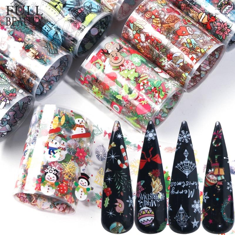10 шт. рождественские украшения для ногтей Смешанная красочная переводная Фольга для ногтей Наклейка Снежный Цветок Лось подарок Санта клейкая бумага CH1036