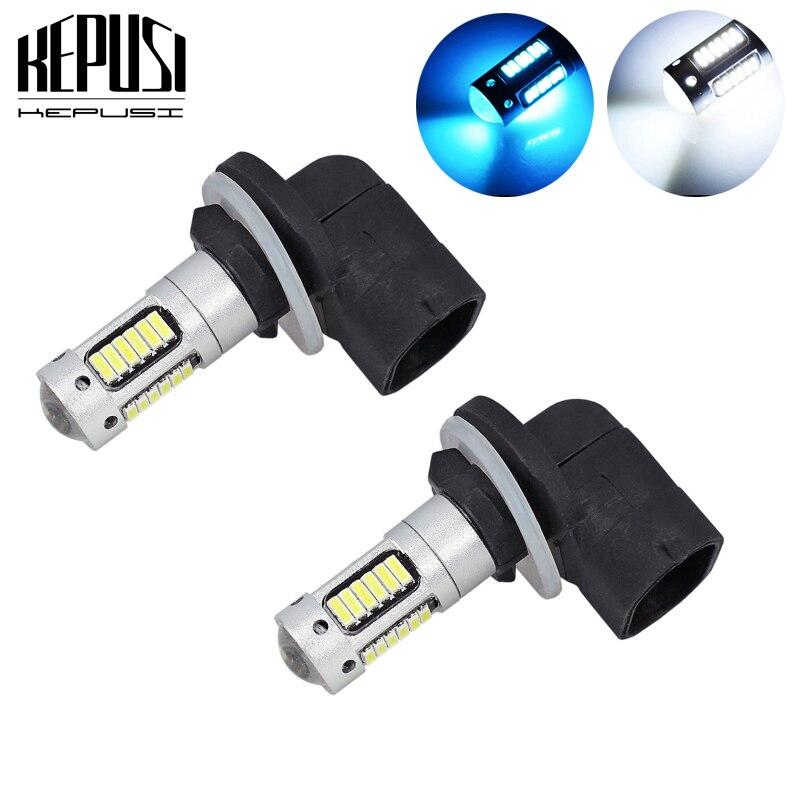 2x de alta potência branco 30-smd 4014 881 h27 lâmpadas de substituição led para luzes de nevoeiro do carro, ca drl lâmpadas, 12 v carro led, gelo azul h27w/2