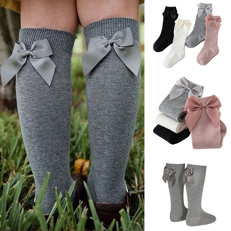 2020 Baby Girls Socks New Toddlers Girl Big Bow Knee High Long Soft Kids Socks Bowknot 100% Cotton 0