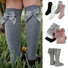 Calcetines hasta la rodilla para niñas pequeñas, medias suaves y largas con lazo, 2020 algodón, para recién nacidos de 0 a 3 años, 100%