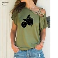 sexy biker girl print t shirt women casua short sleeve cool streetwear t shirts summer sexy irregular shoulder large size 5xl te