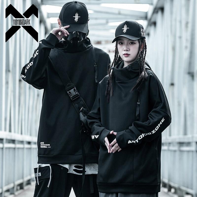 11 BYBB'S الظلام Techwear رسالة مطبوعة Harajuku هوديي بلوزات رجالي 2021 كنزة صوفية قطنية/بلوزة قطنية الهيب هوب الشارع الشهير أسود WB185