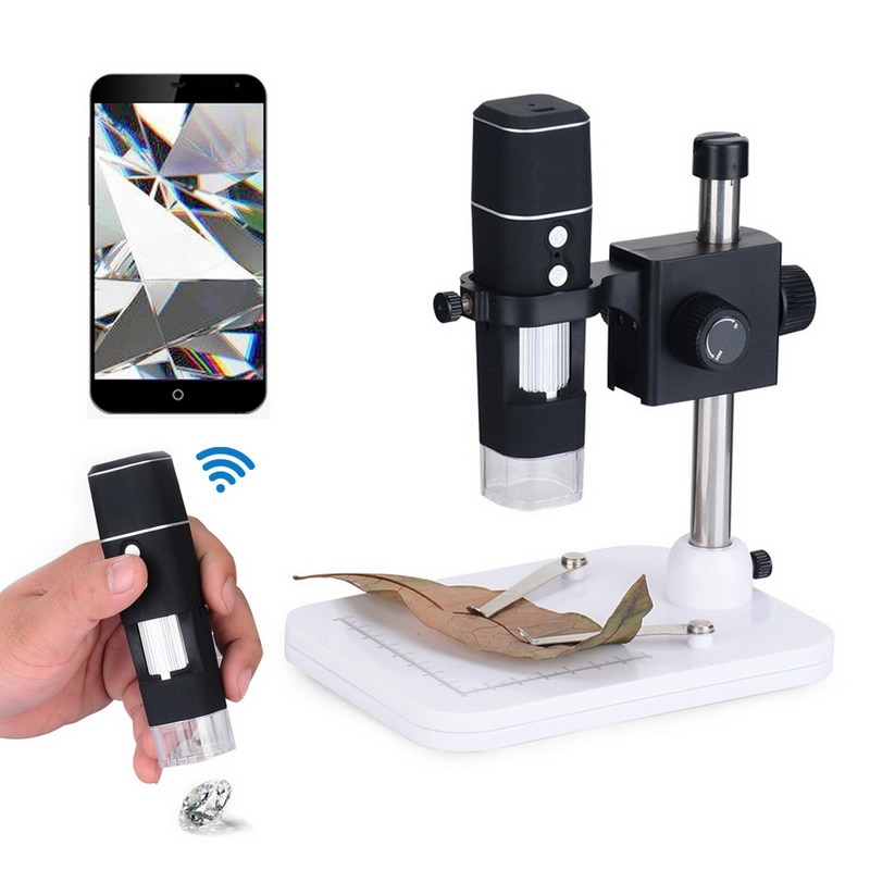 Nuevo microscopio Digital WIFI 1080P inalámbrico teléfono inteligente microscopio electrónico ajustable LED con soporte 1000X